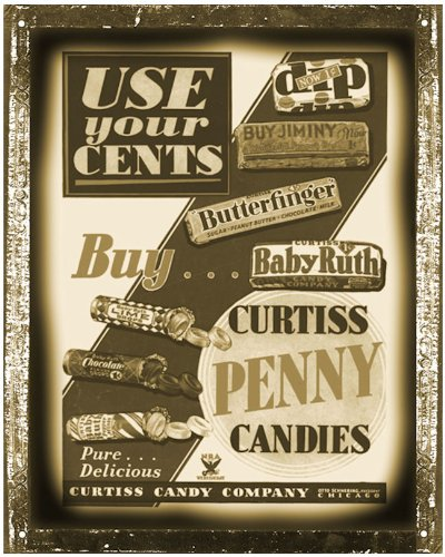 Butterfinger Baby ruth Antique Style Sign Candy