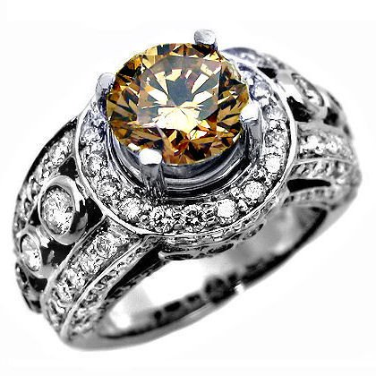 3.63ct Chocolate Round Diamond Engagement Ring