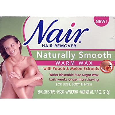 Nair Hair Removal Kit, Microwave Wax for Legs, Body, and Bikini Area, Fresh Peach Melon 7.7 Oz. (Pack of 2)