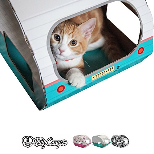 Designer Cat Scratching House – Perfect as a Cat Bed, Cat Playhouse or Cat Toy for Small to Medium Sized Cats – The Kitty Camper Can Help Stop the Cat Scratching Furniture -*FREE* EBook- 100% Money Back Guarantee – RETRO PRINT