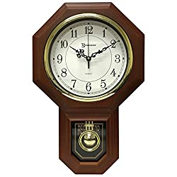 17.5 x 11.25 Essex Westminster Chime Faux Wood Pendulum Wall Clock, Walnut