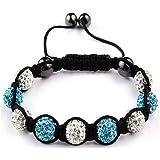 Shamballa Bracelet White & Turquoise Blue Disco Ball Friendship Bead Unisex Bracelets Swarovski Crystal Beads