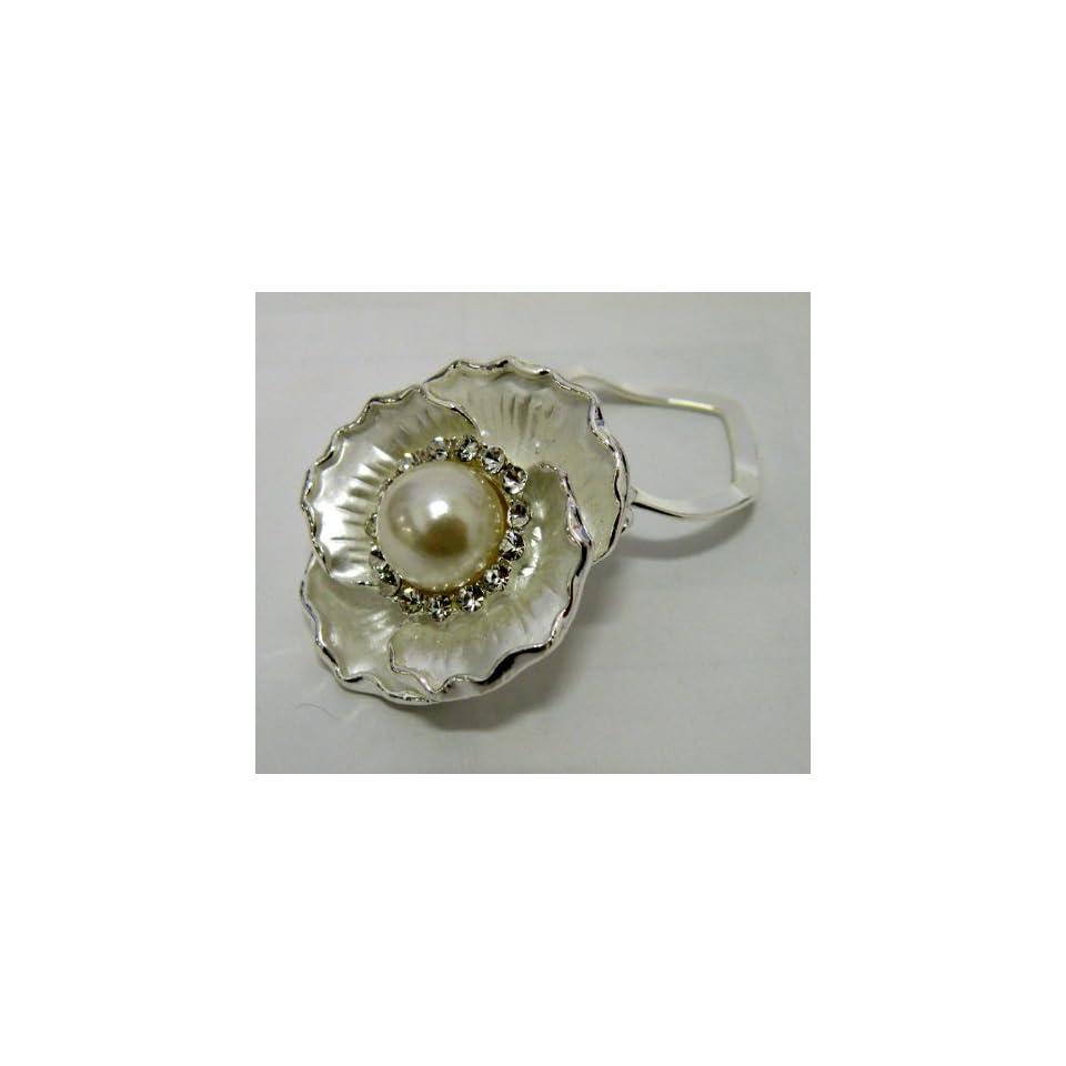 Gorgeous Clip On Style Pin,Scarf Ring,Brooch w/Pearl Silver Metallic With Rhinestone,Beautiful Design ,1.5 W x 1.5 H Super Saving,