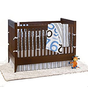 amy coe dot 2 dot 4 piece crib bedding set blue brown white baby. Black Bedroom Furniture Sets. Home Design Ideas