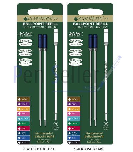 Monteverde: 4 Recharges Bille Soft Roll Bleu Compatible Cross, Pointe: M, Livrées en Blister (2 Blisters de 2 Recharges Chacun).