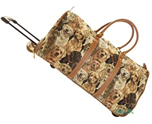 Tapestry Royaltex Canvas Weekend Travelflightovernight Wheeled Holdall Bag With Retractable Handle Dogs - Gobelin Style