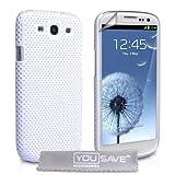 """Samsung Galaxy S3 Tasche Wei� Masche Harte H�lle Mit Displayschutz Und Poliertuchvon """"Yousave Accessories�"""""""