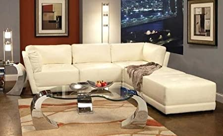 Coaster 500894 895 896 Kayson Sectional Sofa Set White Bonded Leather