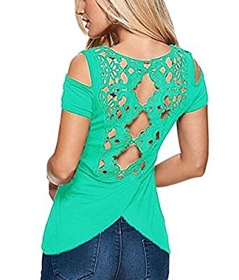 RAYWIND Womens Summer Short Sleeve Shoulder-off Cotton Blouse T Shirt Lace Tops