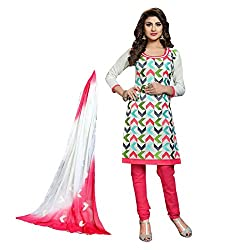 Paridhan Women'S White Cotton Embroidered Suit 003