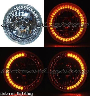 """Octane Lighting 7"""" Amber Led Angel Eye Ring Motorcycle Halo Headlight Blinker Turn Signal Light"""