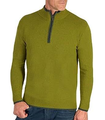 Wool Overs Pull homme à col zippé en laine d'agneau Vert automne/Vert anglais XS