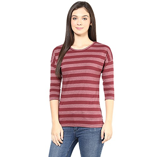 Hypernation-Maroon-Color-Stripped-T-Shirt-for-Women