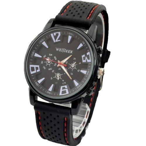Daisy*Vzu New Titanium Casing Fashion Business Men Army Sport Silicone Rubber Watch (Black)