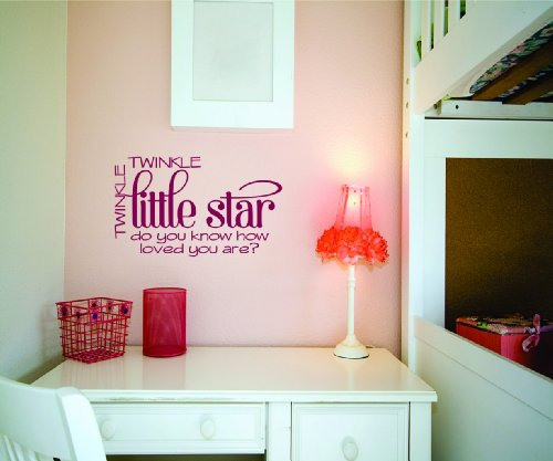 Twinkle Twinkle Little Star Picture Art - Kids Baby Boy Girl Bedroom - Peel & Stick Sticker - Vinyl Wall Decal - Size : 16 Inches X 24 Inches - 22 Colors Available front-470924