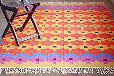 Hot Weave Handwoven and Handmade 5'x8' Multicolor Geometric Pattern Area Rug, Style 0668