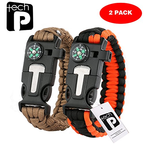 TECH-P® 5 in 1 Multifunctional Paracord Bracelet with Compass Flint Fire Starter Scraper Whistle- 2 Pack Khaki And Orange