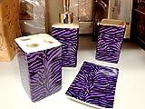Purple Zebra Print Ceramic Bathroom Set 4 Pieces Animal Print Bath Decor