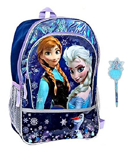 Disney Frozen Elsa and Anna Blue Snowflake Backpack with Bonus Olaf Pen