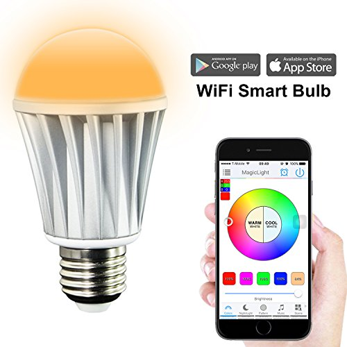 MagicLight WiFi Smart LED Light Bulb - Smartphone Controlled Sunrise Wake Up Lights - Dimmable Multicolored Color Changing LED Night Light - Works with Alexa - 7 Watts (60Watts Equivalent) (Wi Fi Light Bulbs compare prices)