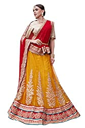 Ishin Net Chiffon Party Wear Embellished Golden & Red Lehenga