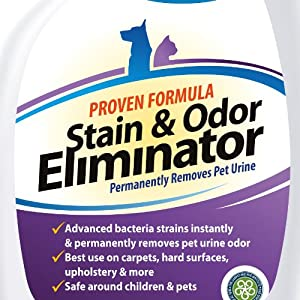 ** #1 Pet Odor Eliminator ** Urine Remover - CRI Certified Enzyme Cleaner For Old & New Stains - FREE BONUS Included - GUARANTEED Most Powerful Stain Odor Remover Urine Destroyer - Pet Stain Remover With Advanced Bacteria Strain - Effective Carpet Stain Remover Eliminates Odors Deep in Carpets - Proven Upholstery Cleaner Eliminate Odor From Their Source - Quickly & Safely Get Urine Off - Best Pet Stain Cleaner Deodorizer, Dog, Cat Urine Odor Remover Without Any Harsh Chemicals - Safe Around Pets & Humans - 32 oz. Spray, 90 Day Guarantee