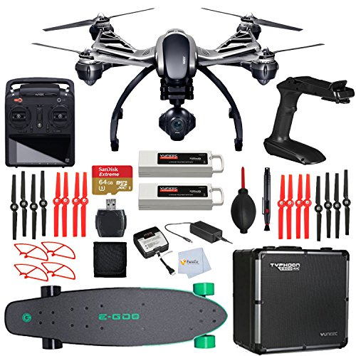 YUNEEC Q500 4K Typhoon Quadcopter with CGO3-GB Camera, SteadyGrip, Aluminum Case includes SanDisk 64GB Extreme microSD + High Speed Card Reader + Yuneec E-G02 Electric Longboard - Deep Mint & More!