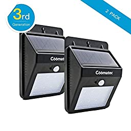 Coomatec MS-80 Motion Detector Light Solar Powered for Outdoor Wall, with 8 Led, Black[2 pack]