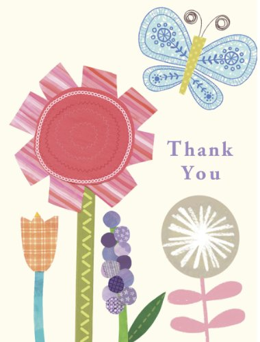 C. R. Gibson Thank You Notes, Floral Butterfly