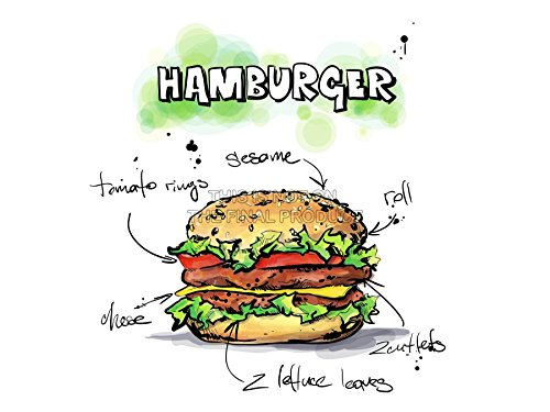 PAINTING ILLUSTRATION TASTY FOOD RECIPE HAMBURGER ART PRINT POSTER MP5476A (Tasty Foto Art compare prices)