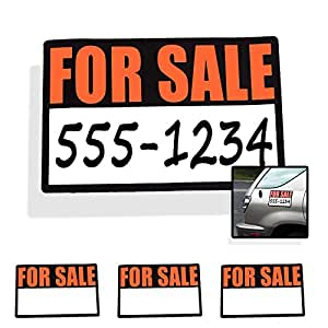 Amazon com 3pc high visibility magnetic for sale signs for cars