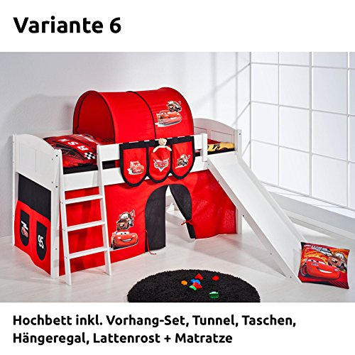Hochbett Spielbett IDA Disney Cars, mit Rutsche und Vorhang, weiß, Variante 6 günstig bestellen