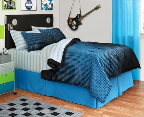 Boys Blue & Black Reversible Twin Comforter Set (6 Piece Bed In A Bag)