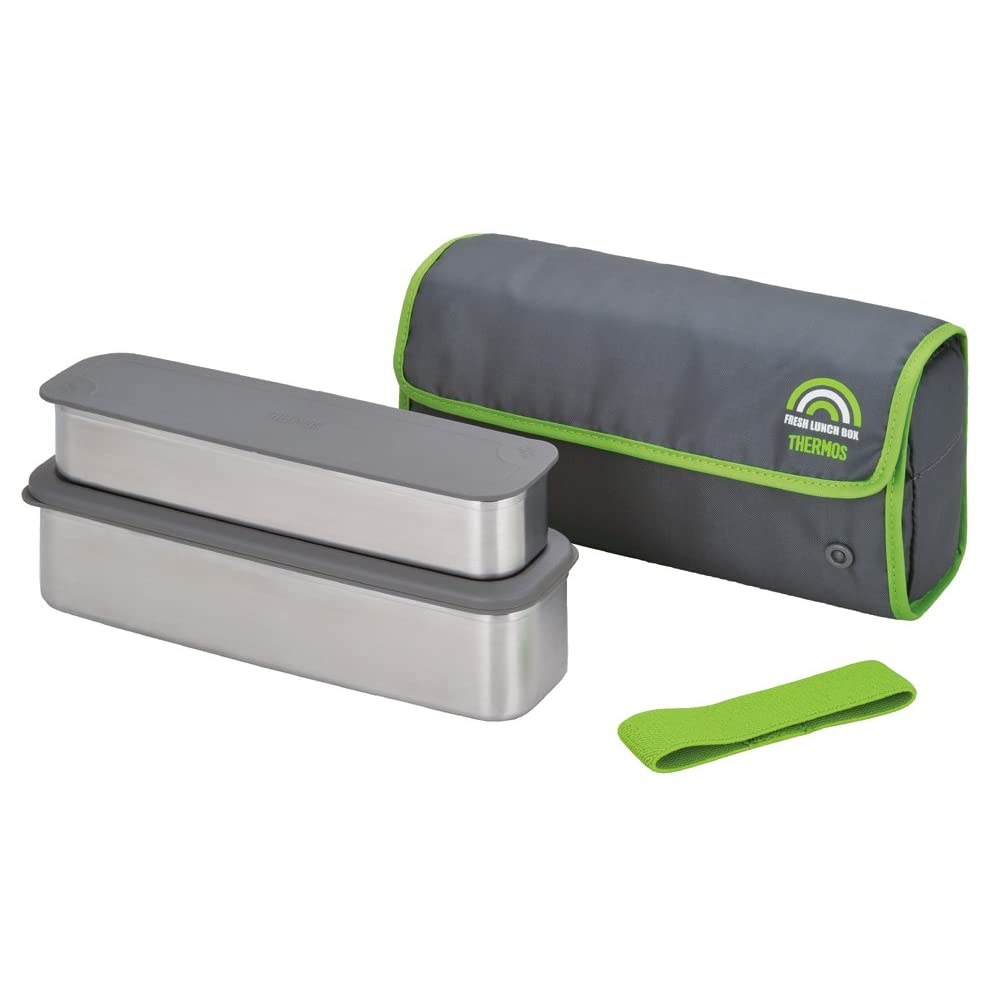 new thermos bento stainless steel lunch box bag and chopsticks grey japan ebay. Black Bedroom Furniture Sets. Home Design Ideas