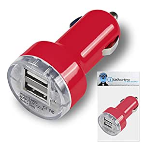 Red Dual 2.1 / 1 Amp [ 3.1A ] Compact Fast Charge 2 x USB Ports Car Charger Adapter For Apple iPad Air (2013)