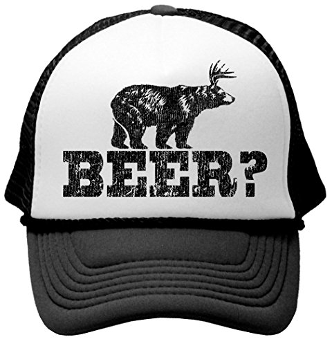 Retro Deer Beer Bear - funny party joke Funny Mesh Trucker Cap Hat, Black (Beer Bear compare prices)