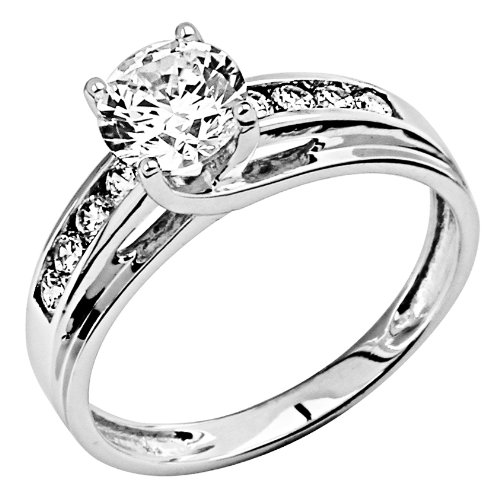 14K White Gold Solitaire 1.5 CT Equivalent Round