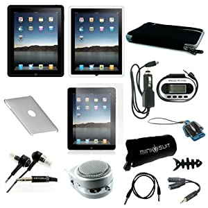 13-Item Accessories Bundle for Apple iPad Tablet Wifi / 3G skin case, sleeve, earphone, screen protector, crystal case, FM transmitter, speaker, cable + more