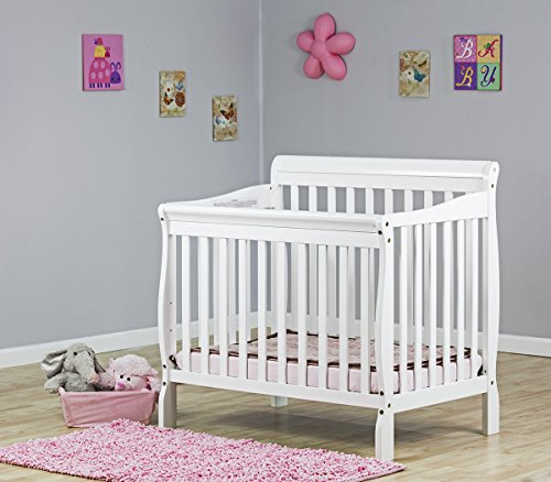 Lowest Price! Dream On Me 4 in 1 Aden Convertible Mini Crib, White