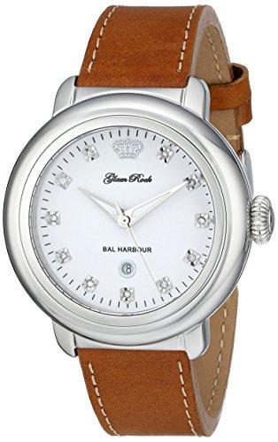 Glam Rock de las mujeres GR77016 analógico de cuarzo suizo de Bal Harbour de visualización de color marrón y reloj de pulsera