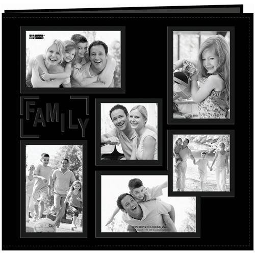 "Pioneer 12-Inch by 12-Inch Collage Frame Embossed ""Family"" Sewn Leatherette Cover Memory Book, Black"