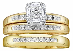 Men's Ladies 10K Yellow Gold .1CT Round Baguette Cut Diamond Wedding Engagement Bridal Trio Ring Set (ladies size 7, men size 10)