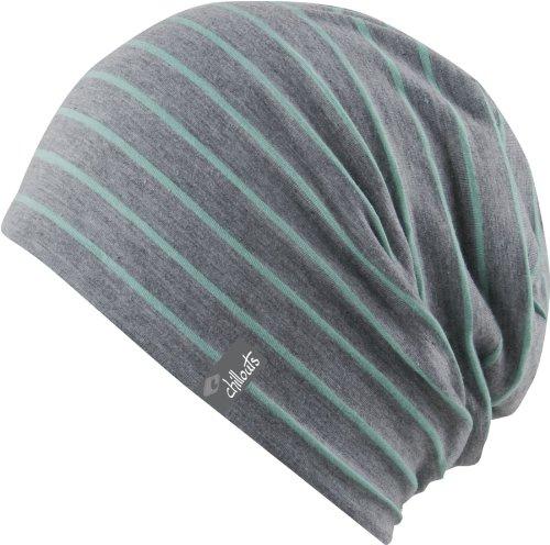 leichte Long Beanie oversize Mütze grau - gestreift - Damen Herren Mütze unisex, 2014, Slouch (mint-darkgrey)