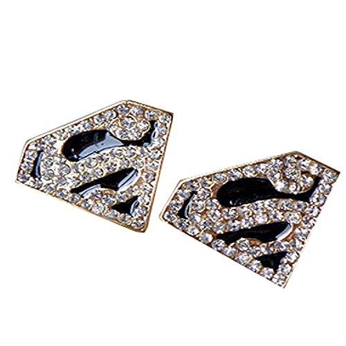3Pcs smalto oro di cristallo della geometria Superman anello dell'orecchino della collana Set