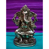 Niliyashoppe Lord Ganesha Sitting On Lotus Ganapati Bappa Brass Statue Sculpture, Metal ( Golden, 7 Inch )