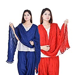 Kalrav Solid Blue and Red Cotton Dupatta Combo