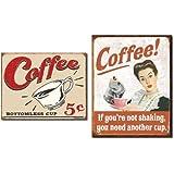 Tin Sign Set of 2 Coffee