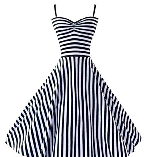 Betusline Women's Vintage 50s 60s Audrey Hepburn Nautical Stripes Full Dress Nautical Stripe Dress