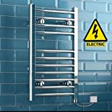 iBathUK | 650 x 400 Electric Chrome Heated Towel Rail Bathroom Radiator - All Sizes