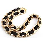 Eforlife Fashion Lace Riband Gold Plated Chain Pendant Necklace Jewelry Hot New